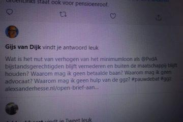 Gijs van Dijk, leuk maar geen antwoord.
