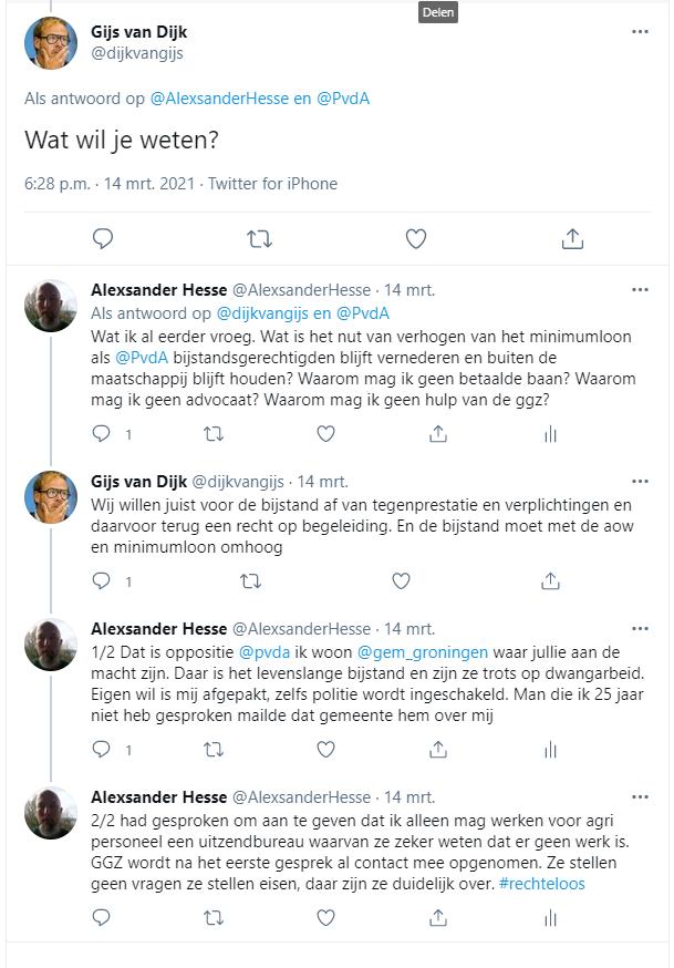 Gijs van Dijk, stil als hij merkt dat ik het PvdA beleid ken.