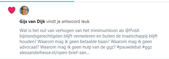 Gijs van Dijk vindt tweet met vragen leuk maar antwoord niet